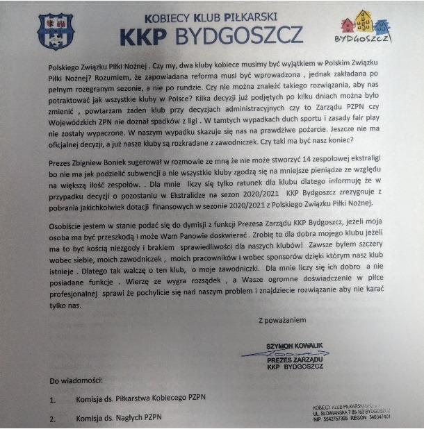 101440624 2637683393111964 8375212151622598656 n - KKP Bydgoszcz nie ustaje w walce o utrzymanie! PZPN otrzymał następne pismo